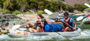 Couple on croc raft